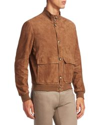 Saks Fifth Avenue Brown Collection Suede Jacket for men