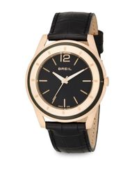 Breil - Pink Rose Goldtone Stainless Steel & Croc-embossed Leather Round Watch - Lyst