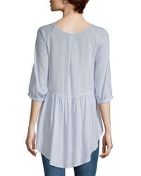 French Connection Blue Hi-lo Peplum Top