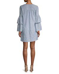 BCBGMAXAZRIA Gray Women's Striped Lace-up Mini Dress - Grey