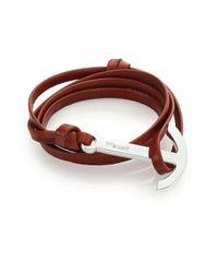 Miansai Brown Modern Anchor Leather Wrap Bracelet for men