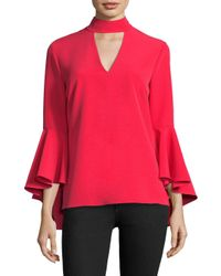 MILLY Red Italian Cady Andrea Choker Bell-sleeve Top