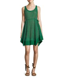 Plenty by Tracy Reese Green Palm Stripe Slip Dress