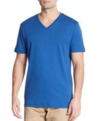 Michael Kors - Blue Liquid Interlock Jersey V-neck Tee for Men - Lyst
