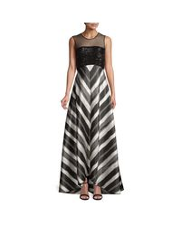 Carmen Marc Valvo Black Striped Illusion Gown