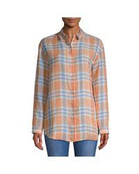 Lafayette 148 New York Multicolor Sabira Plaid Linen Button-down Shirt