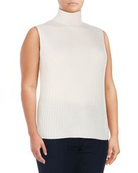 Lafayette 148 New York White Plus Cashmere Sleeveless Sweater