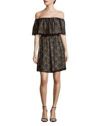 Alice + Olivia Black Suzy Floral-lace Off-the-shoulder Dress