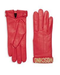 Moschino - Red Leather Logo Gloves - Lyst