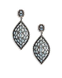 Bavna - Metallic Champagne Diamond, Aquamarine & Sterling Silver Drop Earrings - Lyst