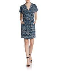 Rebecca Minkoff Multicolor Silk Geo-print Surplice Dress