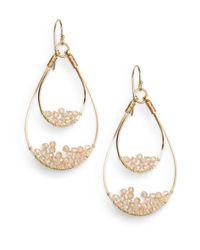 Nunu - Metallic Champagne Wire-beaded Teardrop Earrings - Lyst