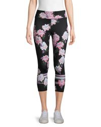 Marc New York Black Floral Compression Capri Leggings