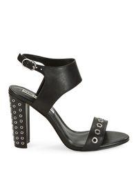 Karl Lagerfeld Black Leola Grommet-accented Sandals