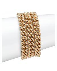 1ar   Metallic Three-row Curb Chain Bracelet   Lyst
