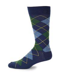 Saks Fifth Avenue Blue Argyles Crew Socks for men