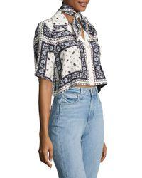 Cinq À Sept Blue Dani Cropped Scarf-print Silk Camp Shirt