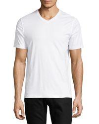 Saks Fifth Avenue White Basic Cotton V-neck Tee for men