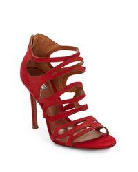 Schutz - Red Onorina Cutout Leather Sandals - Lyst