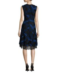 Yigal Azrouël Blue Ferns Embroidered Sleeveless Dress