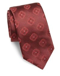 Ike Behar - Red Floral Pattern Silk Tie for Men - Lyst