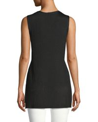 Lafayette 148 New York Black Long Ribbed Tank Top