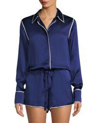 Alexis Blue Lareyne Twist Silk Pajama Romper