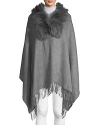 Belle Fare - Gray Dyed Fox & Rabbit Fur Collar, Wool & Cashmere Poncho - Lyst