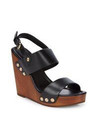 Joie Black Talia Leather Wedge Sandals
