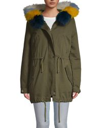 Maje Green Fox Fur-trimmed Anorak Parka