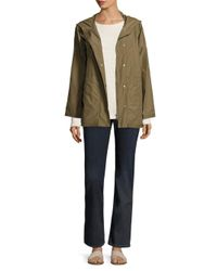 Eileen Fisher - Green Hooded Jacket - Lyst