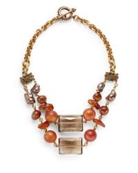Stephen Dweck - Metallic Smoky Quartz & Amber Bib Necklace - Lyst