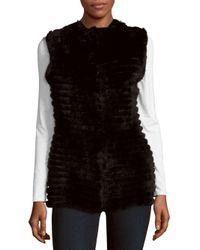 La Fiorentina - Black Dyed Rabbit Fur Vest - Lyst