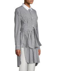 Robert Rodriguez Gray Plastron Striped Collared Tunic