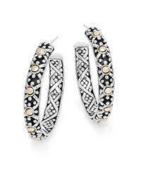 John Hardy Metallic Jaisalmer Sterling Silver & 18 Yellow Gold Hoop Earrings