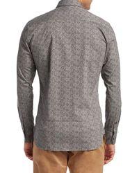 Saks Fifth Avenue Gray Modern Splatter Floral Dress Shirt for men