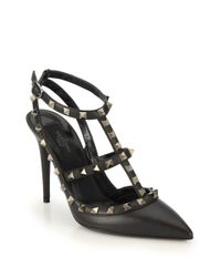 Valentino Garavani Black Noir Rockstud T-strap Pointed Toe Pump