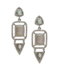 Bavna - Metallic Grey Moonstone, Labradorite & Sterling Silver Champ Rose Earrings - Lyst