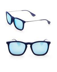 Ray-Ban Blue Chris Velvet Unisex Mirrored Square Sunglasses