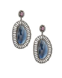Bavna - Blue Champagne Diamond, Sapphires & Sterling Silver Champ Rose Earrings - Lyst