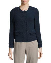 Rebecca Taylor Blue Long-sleeve Textured Jacket