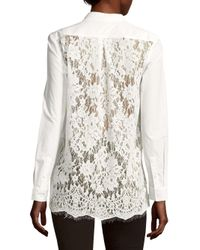 French Connection - White Lace-back Blouse - Lyst