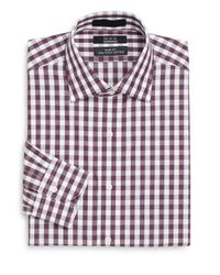 Saks Fifth Avenue Purple Slim-fit Gingham Two-ply Cotton Dress Shirt for men