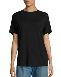 Vince Black Short Sleeve Silk-blend Cocoon Tee