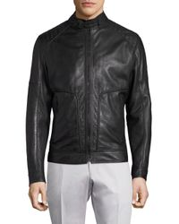 Strellson Black Shield Perforated Leather Jacket for men