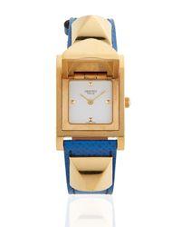 Hermès Metallic Vintage Blue/gold Courchevel Medor Watch