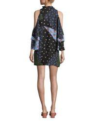 Parker Black Anastasia Patchwork Cold-shoulder Silk Dress