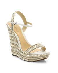 Schutz - White Carminda Leather Trimmed Platform Wedge Sandals - Lyst