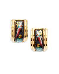 Hermès Red Vintage Enamel Clip-on Earrings