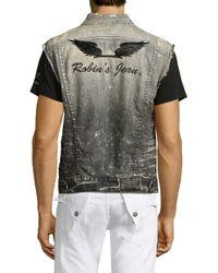 Robin's Jean Brown Washed Denim Vest for men